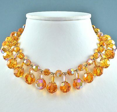 Vintage Necklace 1950s Amber Faceted Crystal Drops & Goldtone Bridal Jewellery