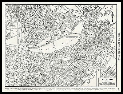 City of BOSTON Massachusetts 1945 antique detailed view Plan Map