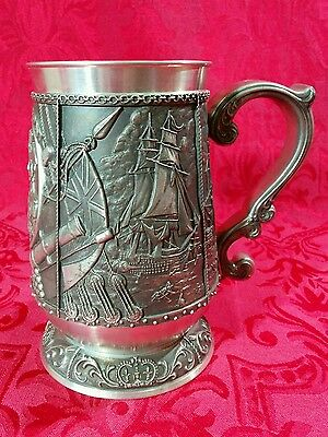 Vintage Pewter Victory at Trafalgar Tankard Stein Lord Nelson 175th Anniversary