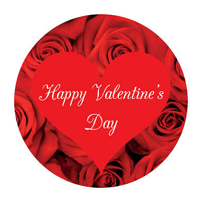 Happy Valentine's Day Stickers - 60mm - crafts and cardmaking - 36 in pack