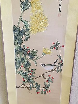 Vtg Antique Signed JAPANESE Hand Painted On Silk WALL SCROLL Bird Flowers Tree