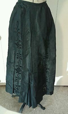 Antique Victorian NICE Embroidered Cut Work Soutache Mourning Steampunk Skirt