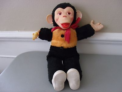 "Vintage 15"" Chimp Stuffed Monkey with banana Doll Rubber Face Hands Boots"