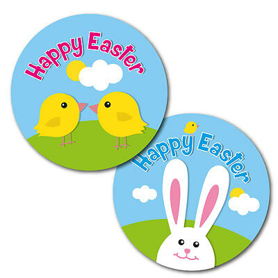 Happy Easter Stickers - 60mm - crafts,cards, schools, shops - 36 in pack, chicks