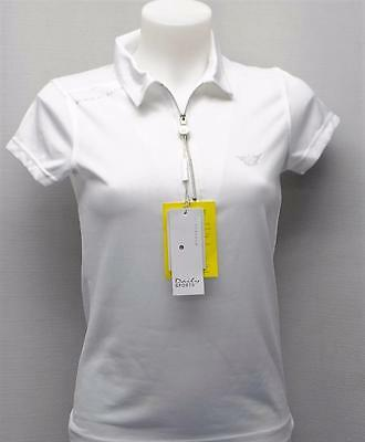New Ladies Daily Sports cap sleeves White polyester golf polo shirt XS