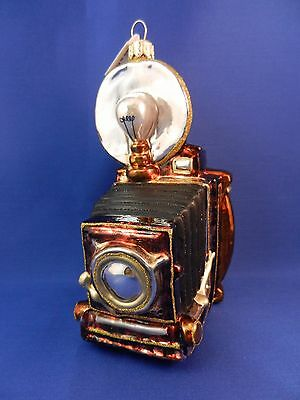 Old Fashion Camera Photography Christmas Glass Tree Ornament Poland 020060