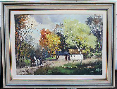 Large Impressionist Oil Painting - Horse & Buggy Scenery - Signed