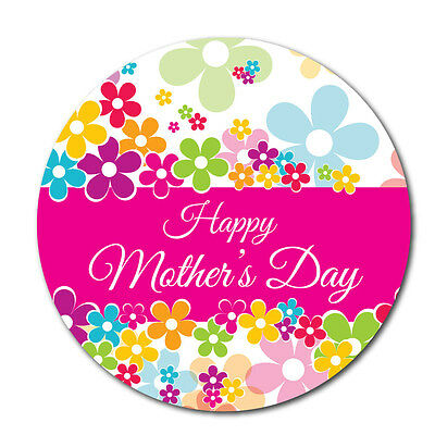 Happy Mother's Day Stickers - Pink - 60mm, crafts and cardmaking - 36 in pack