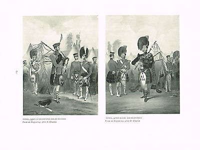 Pipers 93rd Sutherland & 42nd Royal Highlanders Antique Military Picture Print