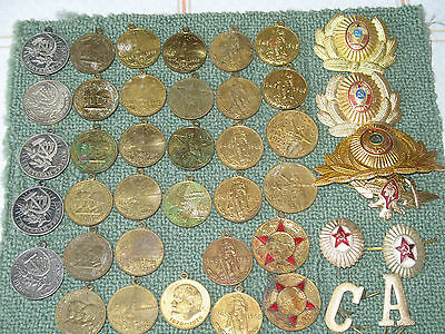 Joblot 34+8 Russian Soviet Jubilee Military Medals and Badges