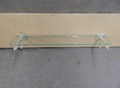 "Antique 18"" Glass Shelf Ledge Cast Iron White Porcelain Brackets Hooks 26-17E"