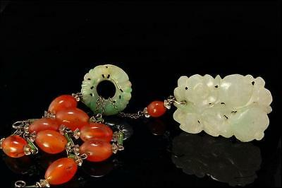 Antique Chinese Carved Apple Green Jadeite Carnelian Beads Silver Necklace