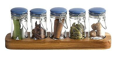Jamie Oliver Pop-Top Spice Jars X 5 Rrp £22 Ceramic Lids Acacia Wood Base Lovely