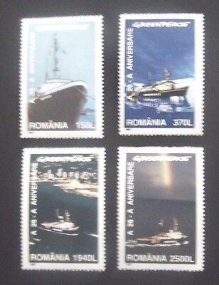 Romania/Greenpeace-1997-Set of Four Ship stamps-MNH