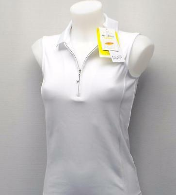New Ladies Daily Sports  polyester white sleeveles golf polo shirt XS