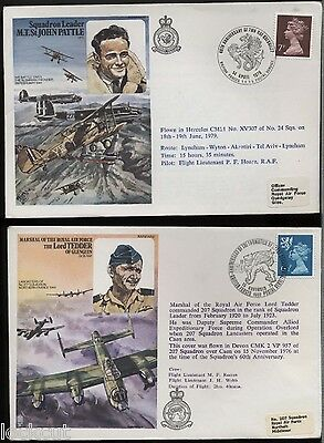 Lord Tedder And John Pattle   Two  Commemorative Covers 1976 Pm Quedgeley 207Sq