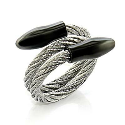 Men's Stainless Steel Roman Tough Cable Wire Biker Adjustable  Ring Black  Point