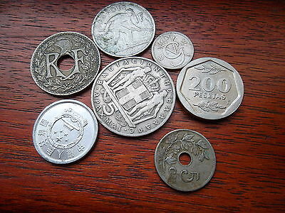 collect Seven coins of the world inc LUXEMBOURG 1924, FRANCE 1926,BELGIUM 1904.