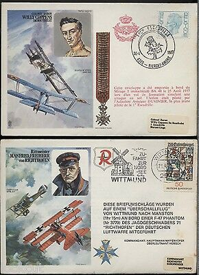 Richthoven  And Willy Coppens Two  Commemorative Covers 1977 Pm Akrotiri , 60 Sq