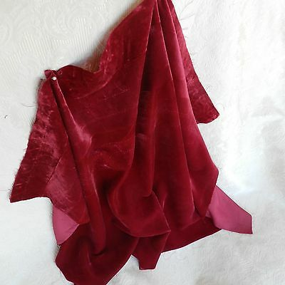 "Vintage rayon , lush velvet , nice magenta color for dolls costume 25"" x 20"""