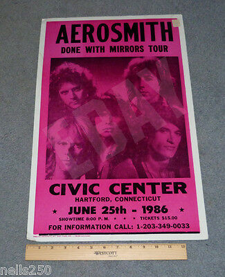 AEROSMITH Concert Poster - Done With Mirrors Tour – Hartford CT - June 25 1986