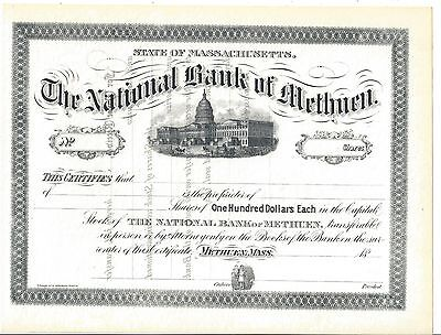 The National Bank Of Methuen (Mass.)....unissued Stock Certificate