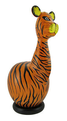 Handcrafted Whimsical Wooden Tiger Coin Bank