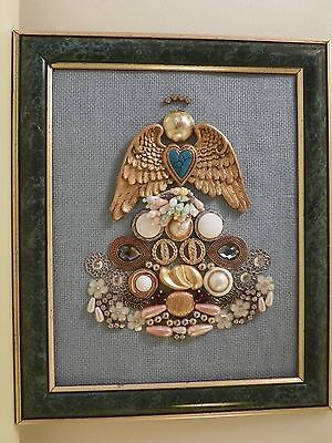 Framed mixed media art angel with vintage costume jewelry