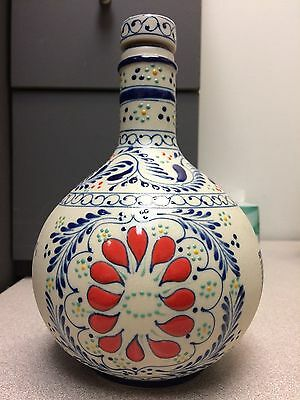 Mexican Ceramic Tequila Bottle Empty Hand Made/Painted Original numbered