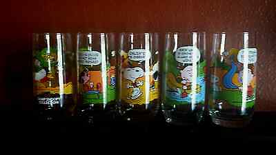 Vintage 1965 McDonald's Camp Snoopy PEANUTS Collection Glasses Set Charlie Brown