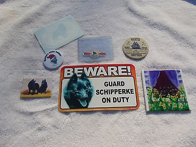 Schipperke Collectible 7 pc. Lot with Hand Painted Tile