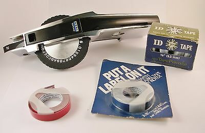 Dymo 1550 Chrome Tapewriter Hand Held Label Maker Embosser with Extra Tape