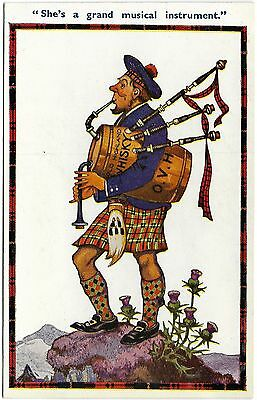 She's a grand musical instrument comic bagpipes whisky Humoresque unused c1936