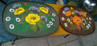 VINTAGE RETRO 1970's MARKS & SPENCERS TEA TRAYS FLORAL and COLOURFUL ENGLAND