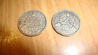 3x Three pence pieces, 1932 1934 and 1935 George V Three pence piece