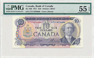 Bank of Canada 10 Dollars 1971 BC-49d - PMG 55 About UNC EPQ