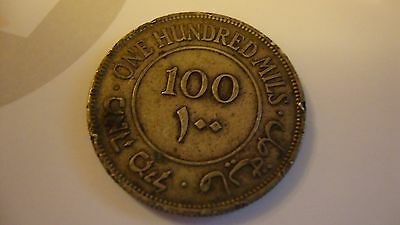 Palestine Coin 100 Mils dated 1939 and 1 Mil dated 1941