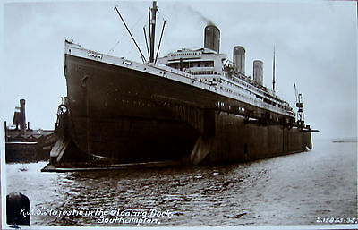 Early R/P Postcard. R.M.S. Majestic in floating dock.