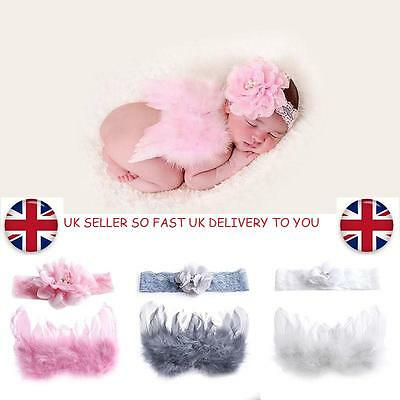 Newborn Baby Flower Headband & Wings Costume Photo Angel Prop Outfits UK SELLER