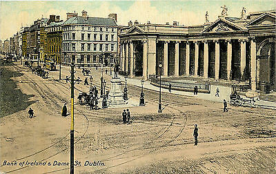 Vintage Postcard Bank of Ireland and Dame St. Dublin