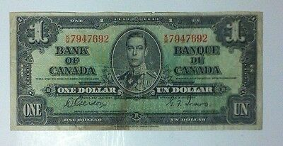 1937 Bank Of Canada One Dollar Note ~ Nice