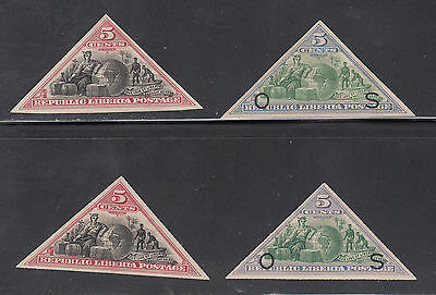 Liberia # 52-53 & O26-27 Complete 1894 Triangle Issues MINT