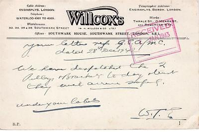 Advert - Pre-paid postcard for Willcoxs, London 1943