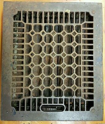 "VTG Ornate Victorian Cast Iron Floor Grate Register Louvers fits 8"" x 10"" Hole"