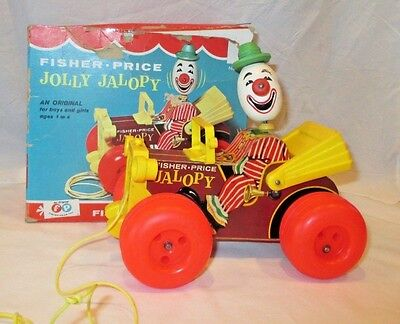 Vintage 1965 Fisher Price Jolly Jalopy Clown Car 724 Pull Toy In Original Box