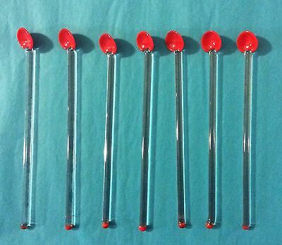 Vintage Barware Set of 7 - Red & Clear Glass Spoon Swizzle Sticks Cocktail Stirs