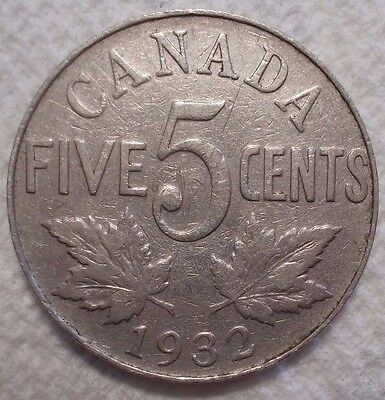 1932 Canada 5 Cents KM# 29 Nickel Coin