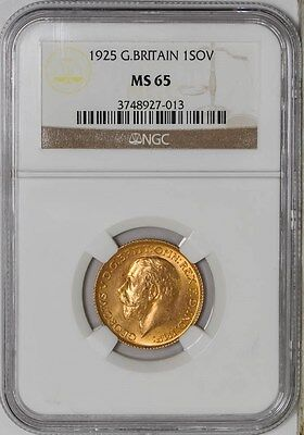 1925 Great Britain Gold 1 Sovereign MS65 NGC
