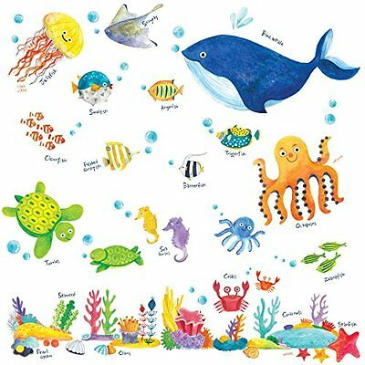 Decowall DW-1311 Under the Sea peel & stick Nursery wall decals stickers, New