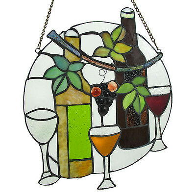 Round Wine Motif Stained Glass Panel